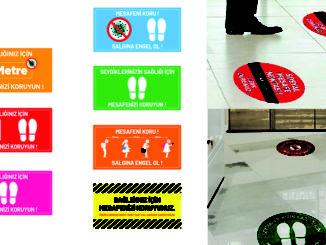 Mesafeni Koru Zemin Etiket çeşitleri satışı Muğla reklam