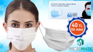 ucuz Tek Kullanımlık, 3 Katlı, Telli Cerrahi Maske üretim ve satış mugla reklam